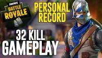 Ninja achieving 32 kills in solo squad - Fortnite